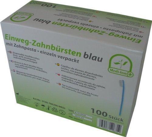 Einwegzahnbürsten Einmalzahnbürsten mit Zahnpasta 1000 Stück (10 x 100) Reisezahnbürste von Medi-Inn Farbe blau PZN 05024152