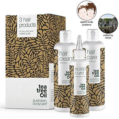 Kopfhautpflege - Set gegen Kopfschuppen, Pickel, trockene & juckende Kopfhaut | Auch zur Pflege bei Schuppenflechte & Psoriasis | Haarpflege mit Teebaumöl für alle Haartypen -