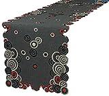Tischläufer in zwei Größen erhältlich,Mitteldecke und Kissenbezug mit Reißverschluss erhältlich. Rot - schwarz - ecru farbene Kreismotive,gestickt auf anthrazit farbener Leinenoptik. Pflegeleichter Stoff , Material 100 % Polyester. Ausgewählte Größe jetzt : (ca. 40 cm x 90 cm)