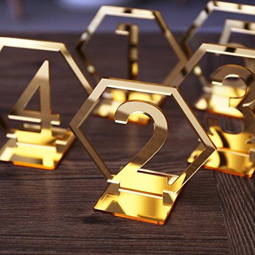 Geometrische Acryl Tischdeko, Hexagon Hochzeit Tischdeko, Boho-Dekor, Spiegel-Gold-Dekor 5 Stück gold