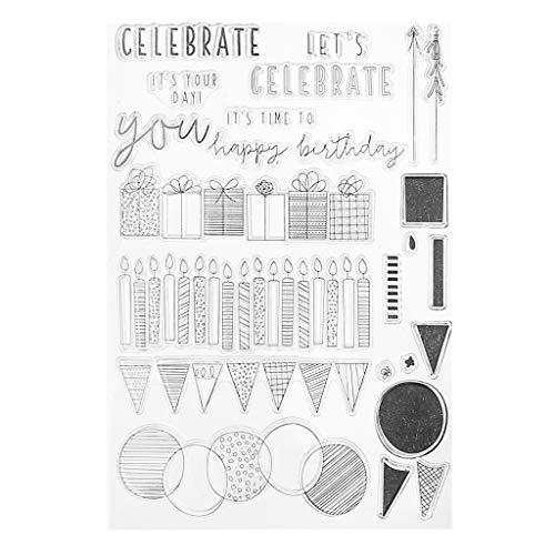 ECMQS Celebrate DIY Transparente Briefmarke, Silikon Stempel Set, Clear Stamps, Schneiden Schablonen, Bastelei Scrapbooking-Werkzeug