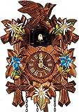 Kuckucksuhr mit Quarzwerk, Schnitzerei Edelweiss und Enzian, 23cm, Handarbeit aus dem Schwarzwald von Anton Schneider