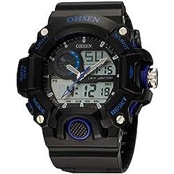 OHSEN Men's Women's Sport Wristwatch Outdoors Waterproof Watch Analog Digital Display Backlight with Alarm Stopwatch - Blue