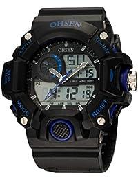 OHSEN Montre de Sport Style Cool étanche EL Rétroéclairage Homme Femme Digitale Analogique Montre Bracelet avec Chronomètre Alarme - Noir/Bleu