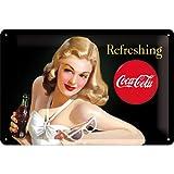 Nostalgic-Art 22227 Coca-Cola, Refreshing Lady, Blechschild, 20 x 30 cm