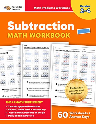 Subtraction Math Workbook: 1500+ Practice Problems, Math Drills & Exercises for Grades 2-4 (60 Pages of Timed Tests, Mental Math, & Bedtime Practice with Bonus Multiplication Tables) (English Edition)