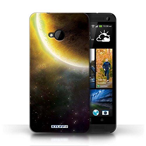 Kobalt® Imprimé Etui / Coque pour HTC One/1 M7 / Planète Pourpre conception / Série Cosmos Éclipse Jaune