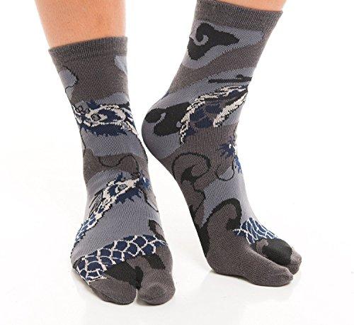 [Vigo Socken] Flip Flop Socken, Samurai, Geisha, japanisch Muster Designs Gr. Large, Dragon- Grey (Dragon Bushido)