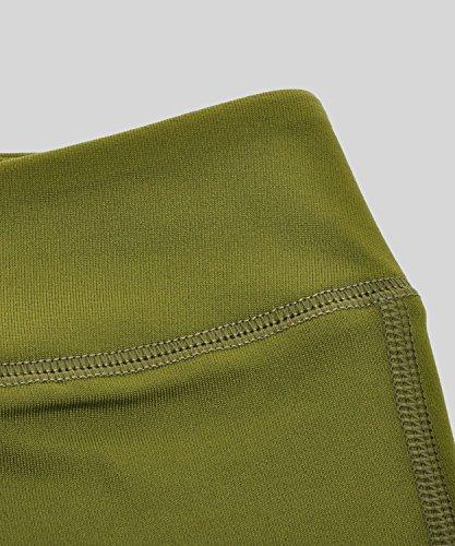 SYROKAN Femme Legging Sport Collant Capri de Running Pure Lime Fitness Pantalon Vert olive