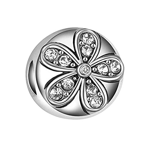 Bling Stars Flower Charms Clear Crystal Sakura Flower Bead Fits Pandora Charms Bracelet