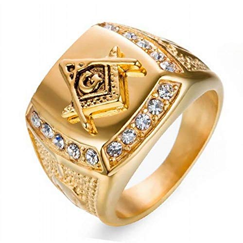 Huaxinyitech Gold Ring, Luxus Square Hip Hop Iced Out Herrenring (Color : Gold, Größe : M)