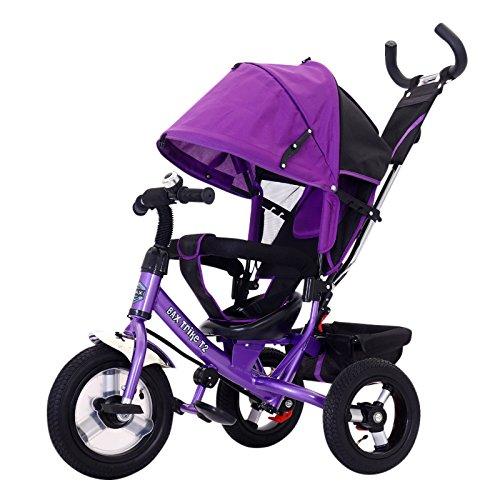 Bax T2 Airwheel Dreirad Violett mit Lenkung Sonnendach Luftreifen Lufträder Schieben Trike Schieben
