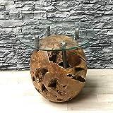 Exotischerleben Teak Kugel Couchtisch ROCO inkl. Glasplatte 50cm | Unikat Wurzel Tisch für Wohnzimmer | Wurzelholztisch Beistelltisch Handarbeit Natur