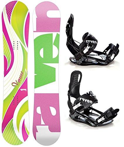Snowboard Set: Snowboard Raven Venus Green/Pink + Bindung Raven s220 Black M