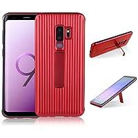 para Samsung Galaxy S9 Plus Case, HengJun TPU + PC Draw Bar Horizontal Vertical Diseño Creativo 2 en 1 Soporte Soporte sísmico Anti-Shock Doble Funda Protectora para Samsung Galaxy S9 Plus - Rojo