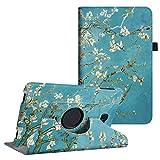 Fintie Hülle für Samsung Galaxy Tab A 10,1 Zoll T580N / T585N Tablet - 360°Drehbarer Stand Cover Case Schutzhülle Tasche Etui mit Ständerfunktion Auto Schlaf/Wach Funktion, Mandelblüten
