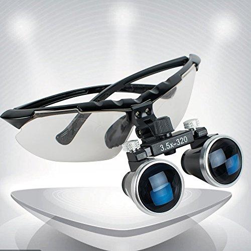 Genmine High-End-Luxus Zahnarzt Schwarz Dental Surgical Medizinische Binokularlupen 3.5X 320mm Optical Glass Loupe