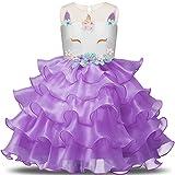 NNJXD Chica Unicornio Flor Volantes Fiesta De Cosplay Boda Vestido De Princesa Tamaño (110) 3-4 Años Púrpura