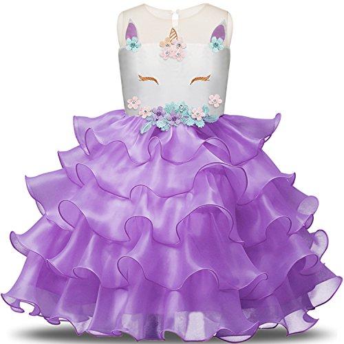NNJXD Mädchen Einhorn Blume Rüschen Cosplay Party Hochzeit Prinzessin Kleid Größe(130) 5-6 Jahre Lila
