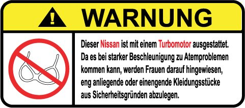Nissan Turbo Motor German Lustig Warnung Aufkleber Decal - Motor Titan Nissan