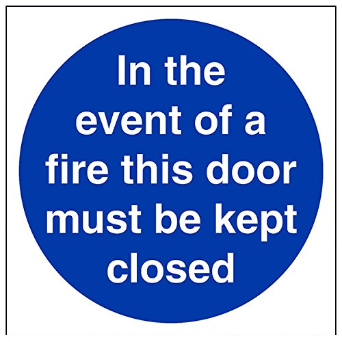 """vsafety 18007am-r """"Im Brandfall diese Tür muss geschlossen"""" Pflicht Schilder, 1mm starrer Kunststoff, eckig, 150mm x 150mm, blau"""