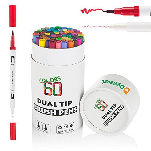 Dystaval 60er Dual Brush Pen Pinselstift Set mit Zwei Spitzen Wasserfarben-Effekt für Malbücher, Manga, Comic, Kalligrafie, Bullet Journal