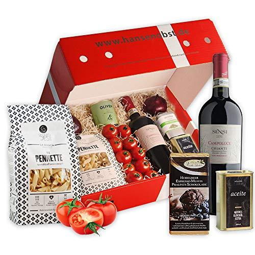 Kochbox Italienisches Pastagericht mit Gemüse und allen Zutaten für eine leckere Pasta in klassischer Geschenkbox
