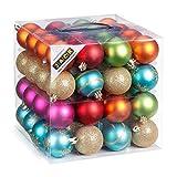 64 Christbaumkugeln 6cm Kugelbox Kunststoff bruchfest // Dekokugeln Weihnachtskugeln Baumkugeln Baumschmuck Set Inge-Glas Plastik PVC 60mm (Mille-Fiori)