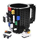 KYONNE Build-on Brick Mug, Tazza da Colazione, Idee Regalo per Natale Originali (nero)
