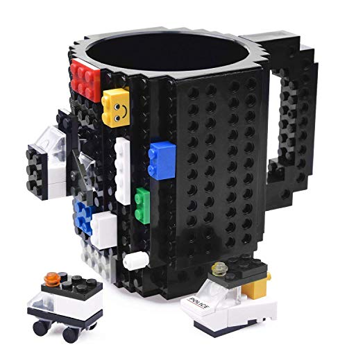 KYONNE Build-on Brick Mug, Novelty Building Blocks Coffee Cup, Unique Christmas Gift Idea (Black)