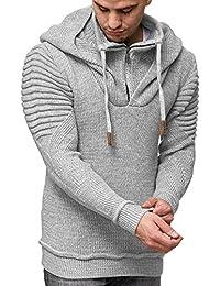 Grobstrick Winter-Pullover Norweger Hoodie Kapuzenpullover Schalkragen