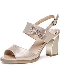 Sandalen Feifei Frauen Schuhe Sommer PU Material Mode Fisch Mund Schwarz Gold Optional (Wasserdicht Tisch: 1 cm...