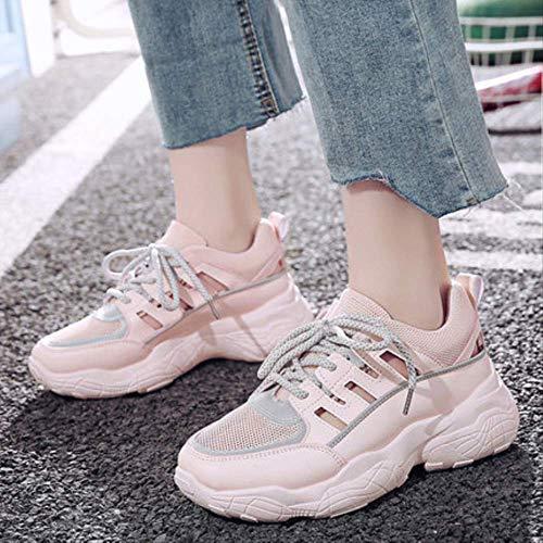 NAYDX Neue Frauen Freizeitschuhe Frühling Mesh Frauen Schuhe Lace-Up Mode Plattform Schuhe Sommer Atmungsaktive Frauen Turnschuhe 7 Rosa
