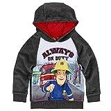 Jungen Sweatshirt mit Kapuze | Größe 98-128 | Feuerwehrmann Sam | Pullover, Größe:116, Farbe:Grau