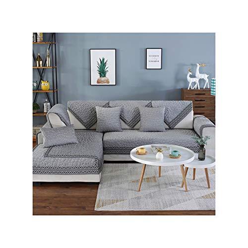 HGblossom Stoff Sofa Cover Handtuch rutschfeste elastische Gesteppte Kissen Universal Sofa Mat Covers für Wohnzimmer grau 110X180 -