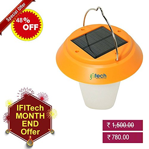 IFITech® Portable Led Decorative Solar Rechargeable Camping Lantern Lamp with Solar and Micro USB Charging Method  available at amazon for Rs.780