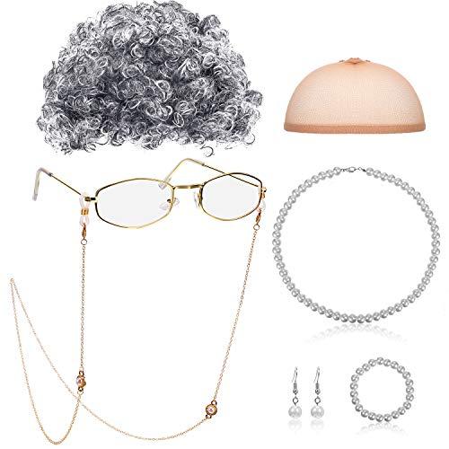 Alte Dame Cosplay Set, Großmutter Perücke, Perücke Kappe, Oma Brille, Brillen Ketten Schnüre Gurt, Perlen Halsketten Set für - Schwarzer Mrs Santa Kostüm