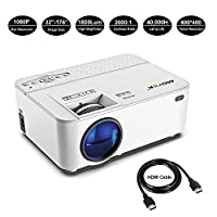 1800 Lumens LED Mini Projector Mofek Portable Video Projector Home Cinema Theater Projector Support Full HD 1080P HDMI USB SD VGA AV???for Home Theatre Entertainment Games Parties Compatible with Amazon Fire TV Stick