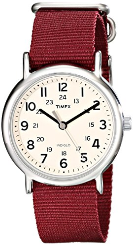 Timex Unisex T2P235 Weekender Maroon Nylon Slip-Thru Strap Watch  available at amazon for Rs.3836