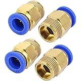 sourcingmap 10mm a 3/8BSP Roscado Macho Neumático Montaje Rápido Conector 4 unidades