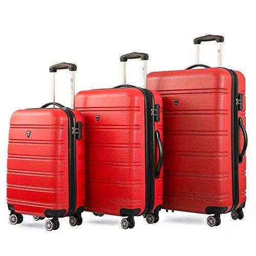 Gepäckset Kofferset Zwillingsrollen Hartschalen Reisekoffer 3tlg. Trolleys mit Zahlenschloss, 3 teilig Gepäck mit 4 Doppel-Rollen, Set-XL-L-M (Rot)