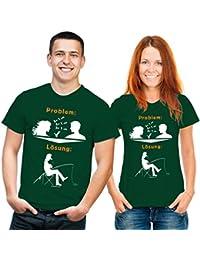 Funshirt Problemlösung Angeln T-Shirt grün weiss orange