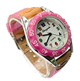 QBD High Quality Boys Girls Time Teacher Watch Kids Children's Gift Fabric Strap Tutor Student Cute Sports Colourful Easy Read Dial Wristwatch Light Pink