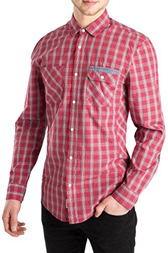 Hommes Threadbare Torquay Designer Bouton Pression Patte De Boutonnage Manche Longue Chemise À Carreaux Rouge