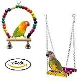 Bird Swing Jouets avec coloré en perles de bois cloches et en bois Hamac à suspendre Perchoir pour perruches inséparables Conures Petite perruche cages Accessoires de décoration
