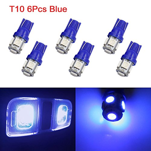 sourcing map 6Pc T10 BLEU 5 5050 SMD-LED-voiture coin Int Lampe W5W 2825 158 192 194