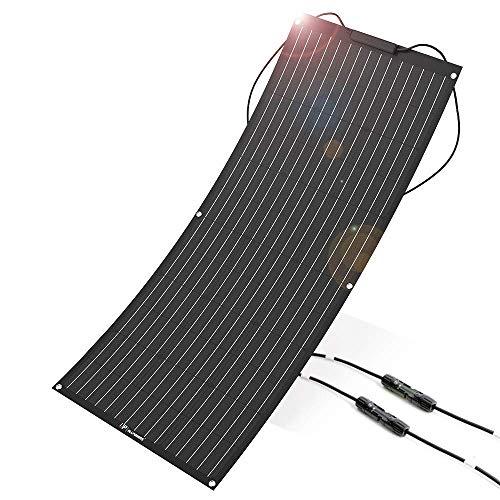 ALLPOWERS 100W 18V 12V Flexibles Solarpanel Ladegerät (mit ETFE Schicht, MC4 Stecker) Semi biegsames für Wohnmobil, Auto, Boot 12V Batterien