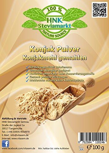 Konjak Pulver (Konjakmehl) gemahlen 100g - ideal zum Abnehmen - gesunde Unterstützung bei Diäten - Verdickungsmittel zum Backen und Kochen