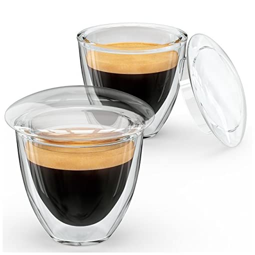 Alpha Coffee Demitasse Cups Espresso Shot Glasses With Lids Made From Double Wall Borosilicate Set Of 2 Clear