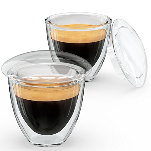 Alpha Coffee Demitasse Cups Espresso Shot Glasses With Lids Made From Double Wall Borosilicate Set Of 2 Clear 51mtimHgb5L